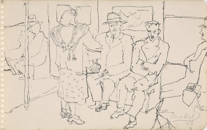 """Alex Katz, """"Subway Series,"""" c. 1944–49, pen and ink on paper, 47⁄8 by 77⁄8 inches."""