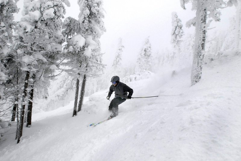 Larry Ross skis Saddleback's Casablanca glade, which opened last winter.