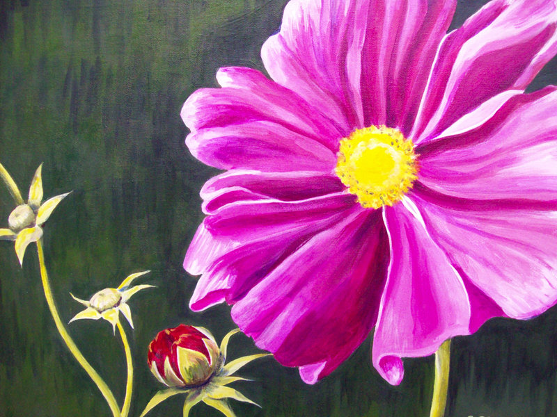 """""""Pink Flower"""" by Sheila Clough of Waterboro."""