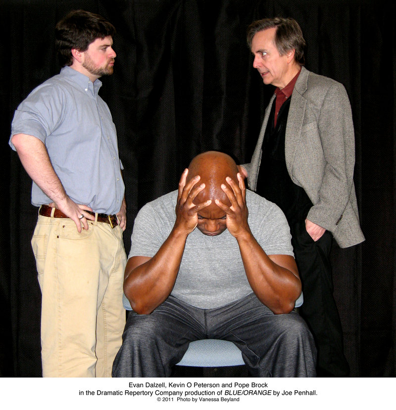 Evan Dalzell, Kevin O Peterson and Pope Brock rehearse a scene from Dramatic Repertory Company's production of Joe Penhall's
