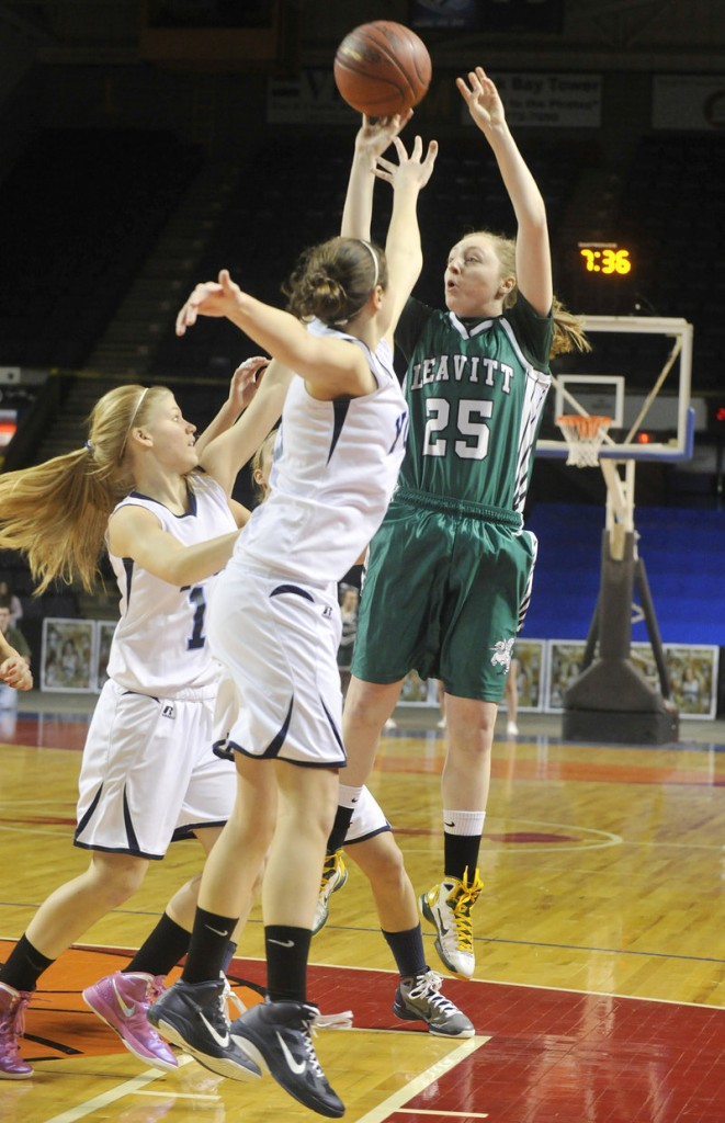 John Ewing/Staff Photographer Kristen Anderson of Leavitt is allowed to fire from beyond the NBA 3-point line. Leavitt scores points. And also wins.