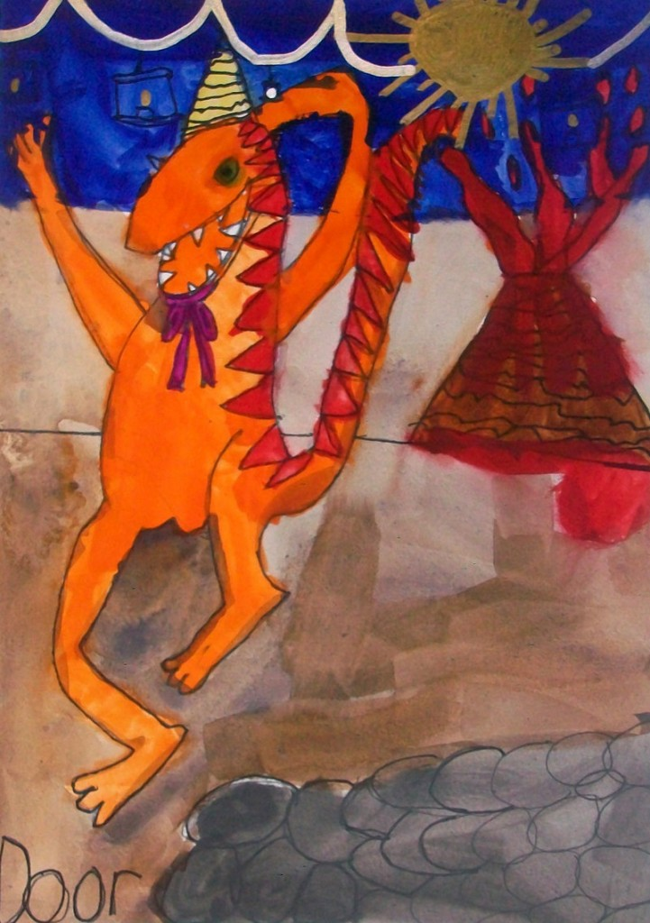 "Left: ""Dinosaur Dancing""by Kayla Pinet,third-grader at Dayton Consolidated School, will beexhibited at the Saco Museum and Dyer Library through April 23."