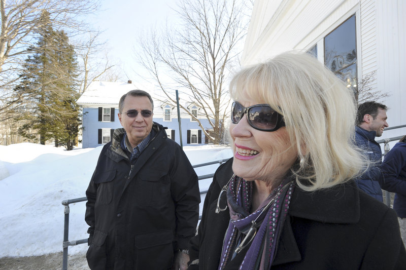 """Gary and Maggie Burhite said Tuesday they voted against the bans on chain stores in Bridgton. """"I'm afraid it's going to discourage people from investing in Bridgton,"""" Maggie Burhite said."""