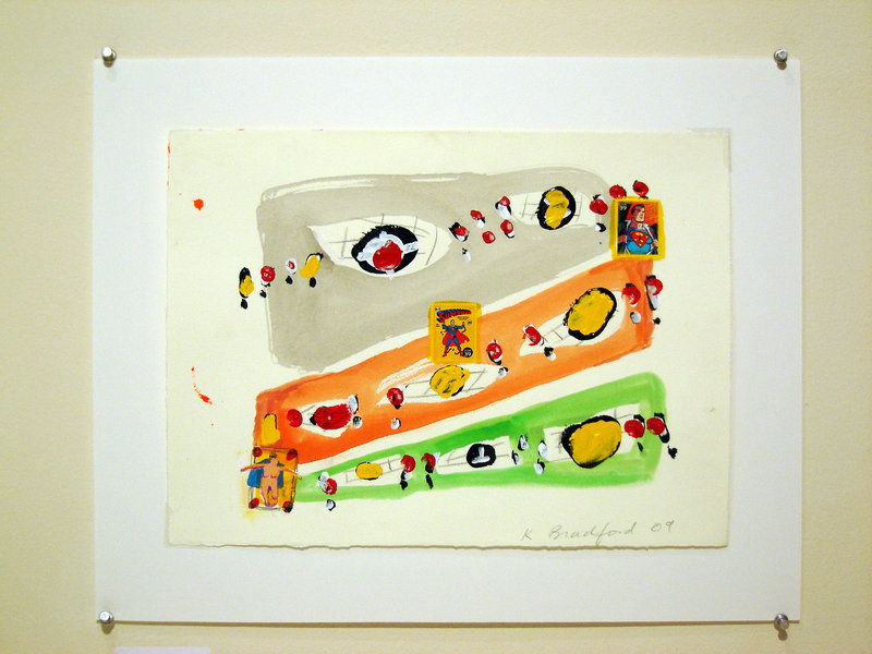 """Bradford's """"Super Stamps,"""" gouache, collage and acrylic, 2009."""