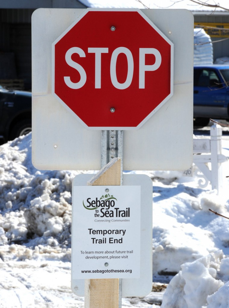 The Sebago to the Sea Trail, which would run for 52 miles from Portland to Fryeburg, ends for now at Route 202 in South Windham.