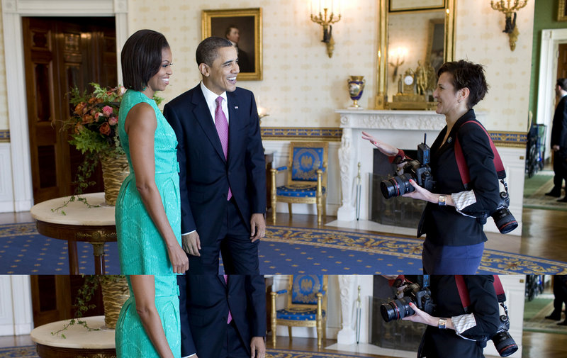 President and Michelle Obama talk with photographer Samantha Appleton, a Camden native, after the National Medal of Arts and National Humanities event in the Blue Room of the White House earlier this month.