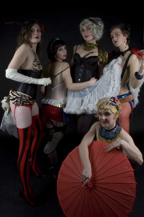 The Dirty Dishes Burlesque Revue started as The Damsels in Burlesque in 2006, expanded to 10 women and now comprises a core of five performers.