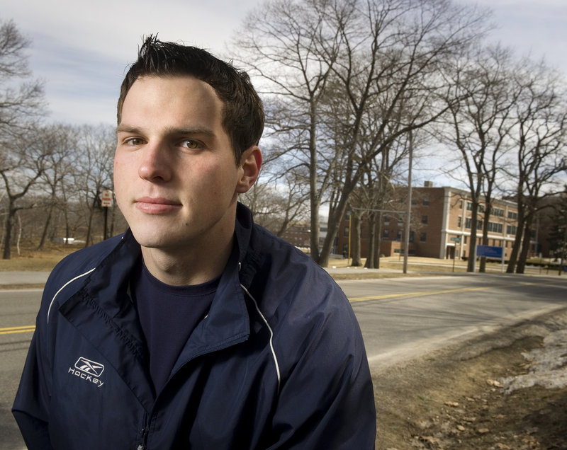 Kody Collins is one of six Canadian hockey players who were forced to make quick decisions about their schooling when UNE changed their financial aid awards last August.