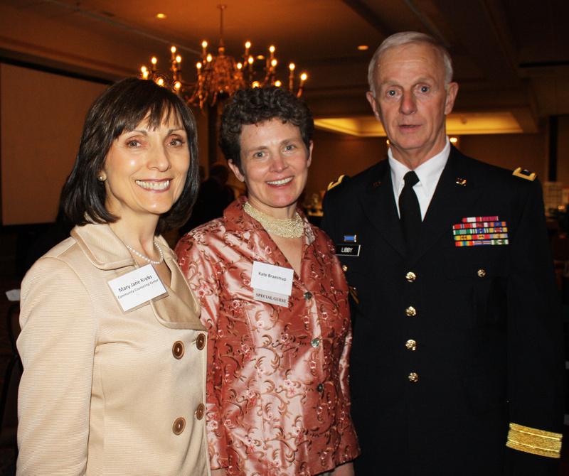 Interim CEO Mary Jane Krebs, Heart of Gold award winner Kate Braestrup and Maj. Gen. John Libby of the Maine National Guard, last year's winner of the Heart of Gold award.
