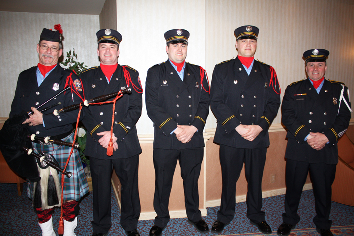 Members of the South Portland Professional Firefighters Honor Guard kicked off the after-dinner program. They are Commander Rob Simmons, Jon Perry, Josh Perry, Chris Swenson and Howard Sterling, who received a Heroes with Heart award.