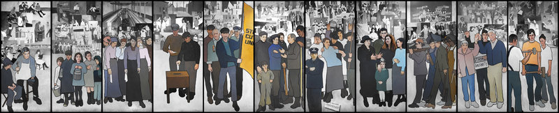 The 36-foot-long mural depicting scenes from Maine's labor history was removed from the lobby of the Department of Labor headquarters in Augusta.