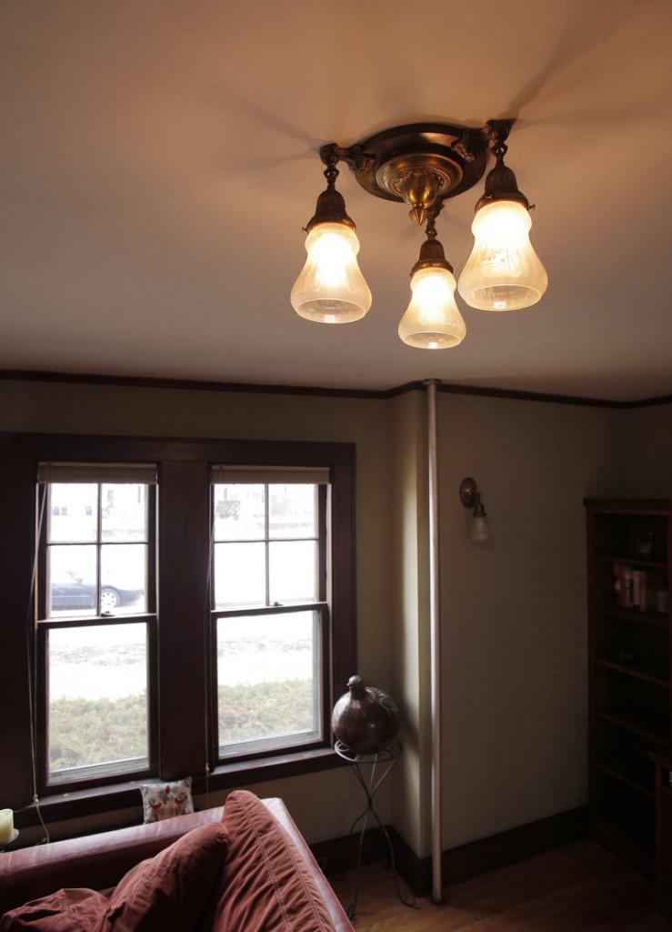 An antique light fixture.