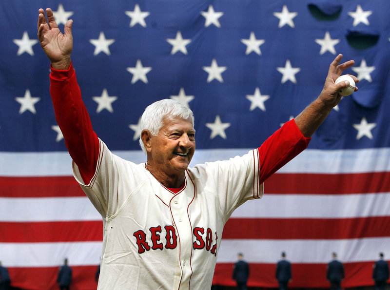 The hair may be white and 28 years may have passed since he played, but Carl Yastrzemski, who threw out the first pitch, remains a Fenway Park icon.