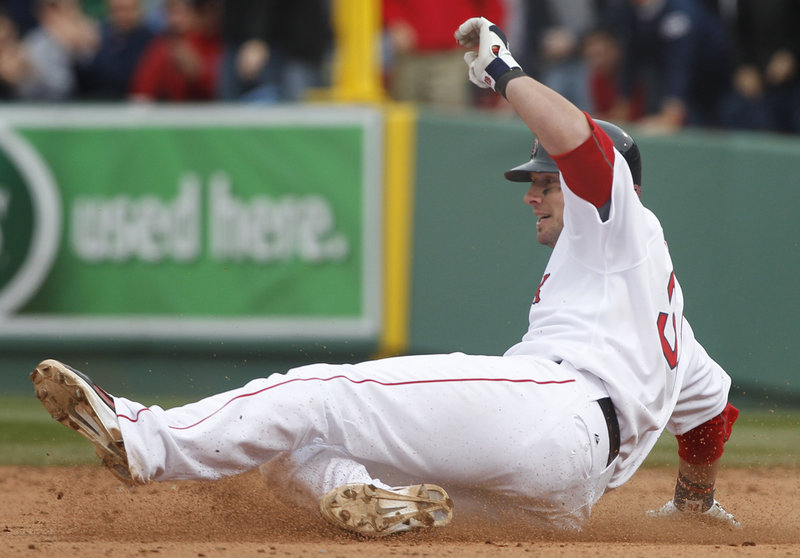 Jarrod Saltalamacchia has the never-ending last name, but also had the winning hit – an RBI double in the fifth inning that broke a 6-6 tie.
