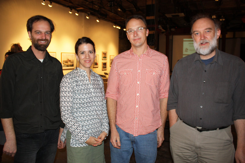 Author and sustainable food advocate Anna Lappe standswith Space Executive Director Nat May, Food+Farm coordinator Jon Courtney and Maine Organic Farmers and Gardeners Association Executive Director Russell Libby.