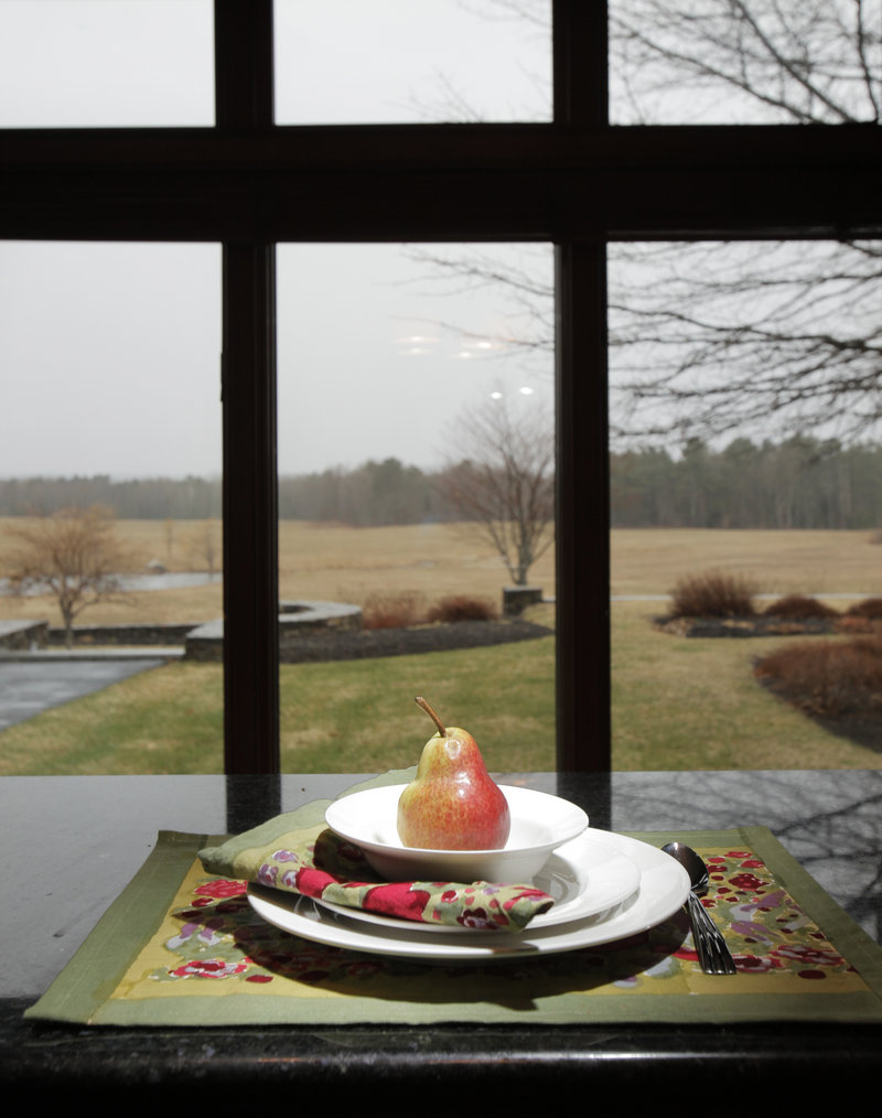 Tanya Preston's kitchen affords magnificent views of the fields behind her home.