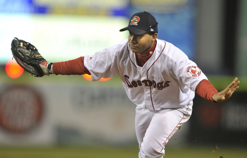 Portland first baseman Jorge Padron waves off the pitcher as he fields a ground ball in the fifth inning at Hadlock Field on Monday night. Padron had three singles in the game.