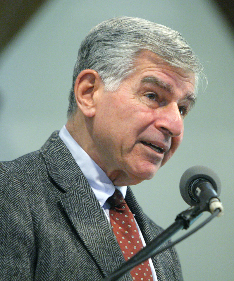 Former Democratic presidential candidate Michael S. Dukakis talks about health care to an audience of about 150 people at the University of New England's Portland campus Tuesday.