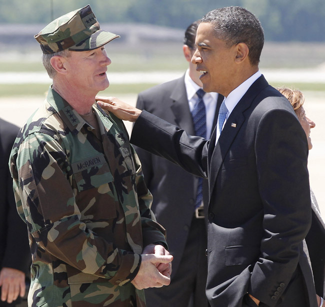 President Barack Obama talks today with U.S. Navy Vice Admiral William H. McRaven, who as commander of Joint Special Operations Command (JSOC) had operational control of the mission to get Osama bin Laden.