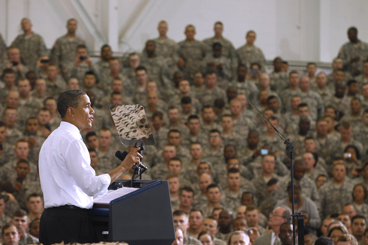 President Barack Obama addresses military personnel who have recently returned from Afghanistan, today at Fort Campbell, Ky.