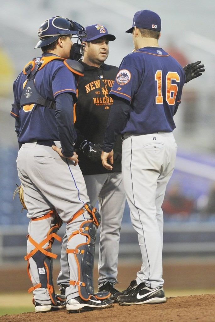 Marc Valdes, center, pitching coach for the Binghamton Mets, knows his way around Hadlock Field. He pitched here while in the Florida Marlins organization and had a 2.59 ERA in 1996.
