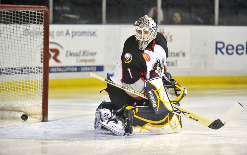 Portland goaltender Jhonas Enroth is stunned by a Binghamton goal on the Senators first shot of the game, by Jim O Brien 25 seconds into the game. Binghamton won 3-0 to clinch the series, 4-2.