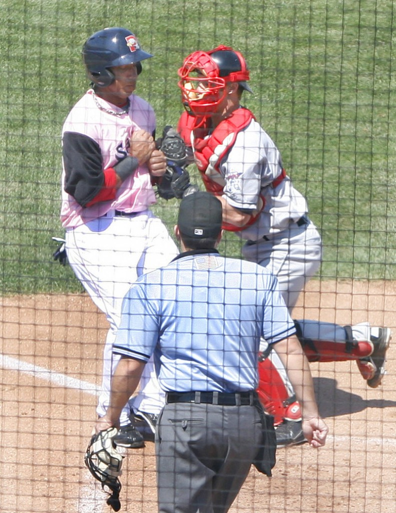 Daniel Rohlfing of the New Britain Rock Cats tags out Sea Dog Jorge Padron at home plate at Hadlock Field on Sunday.