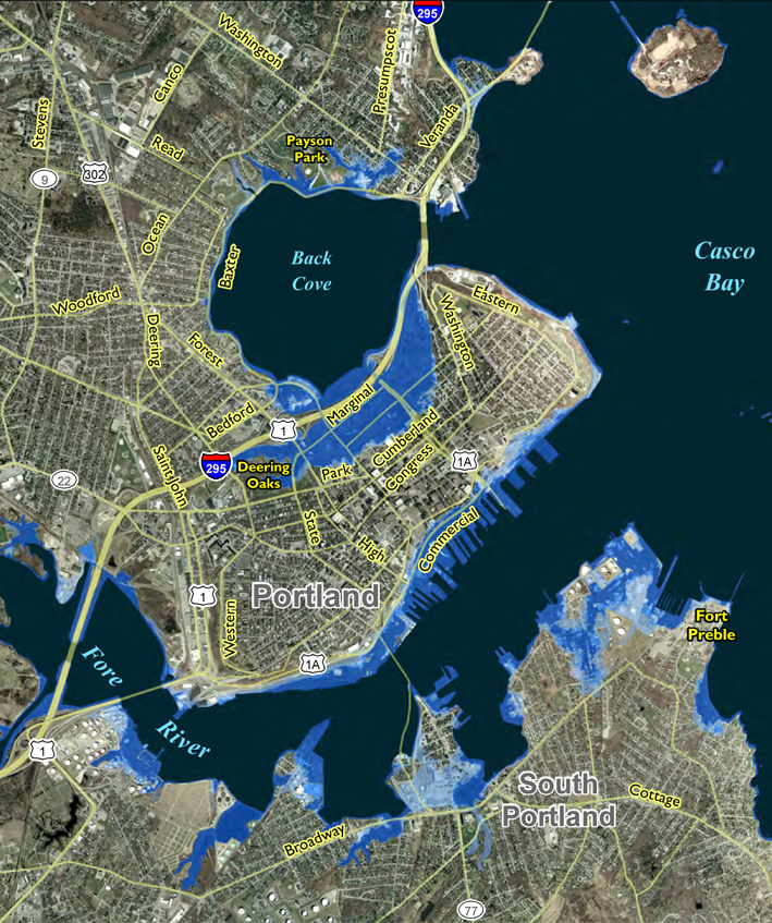 This map depicts areas at greatest risk for flooding by a 1-meter, or 3.3-foot, rise in sea level, coupled with an 80-centimeter, or 2.6-foot, storm surge.