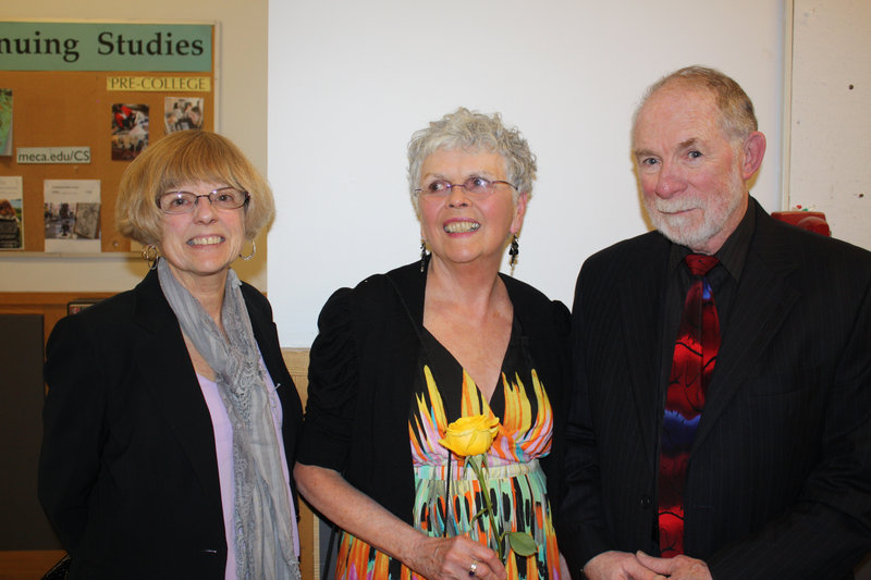 Rayette Hudon of Freeport, Art Honoree and artist Janet Conlon Manyan and artist Thomas Crotty, who owns Frost Gully Gallery and shows Manyan's work.