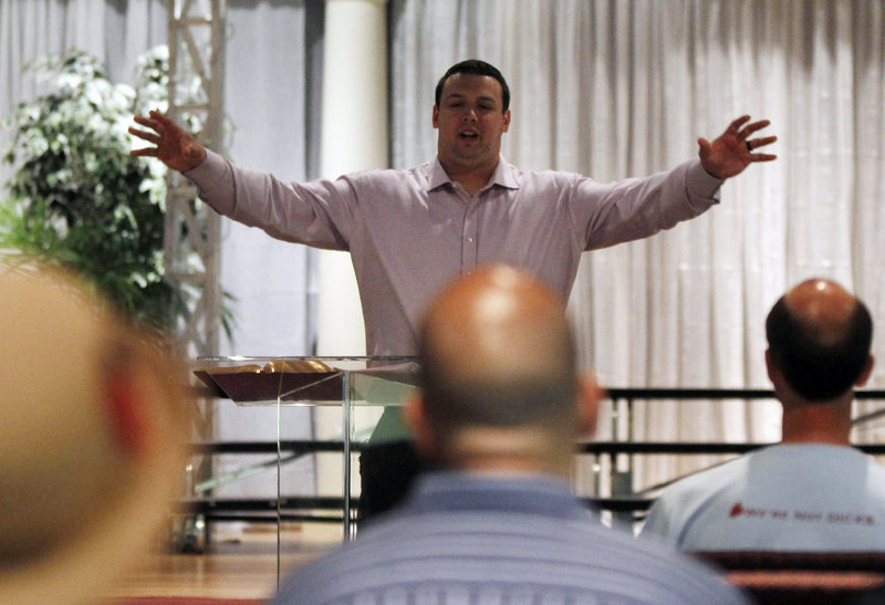 Mike DeVito, a former University of Maine lineman, gave his first sermon a week ago in New Jersey. He's considering a faith-based career after football.