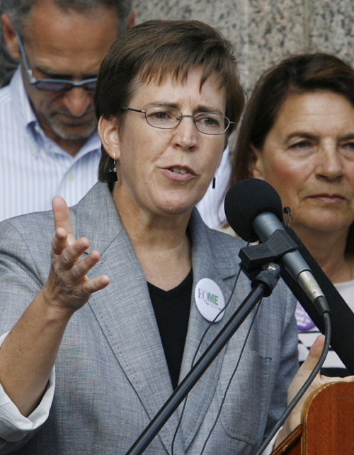 Betsy Smith of EqualityMaine speaks today at the news conference in Lewiston.