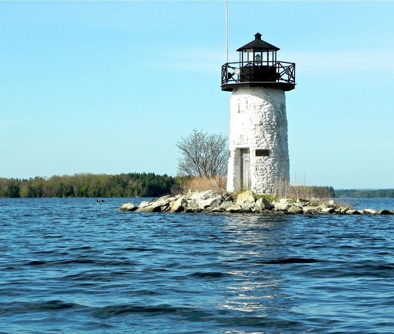 Ladies Delight Lighthouse sits on a ledge outcropping a mile south of the Cobbosseecontee Lake launch site just off Route 202 in East Winthrop.