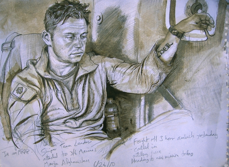 """Mumford's rendering of a sniper team leader in Afghanistan includes this text: """"Fought off 3 hour ambush yesterday; called in artillery twice; heading to new mission today."""""""