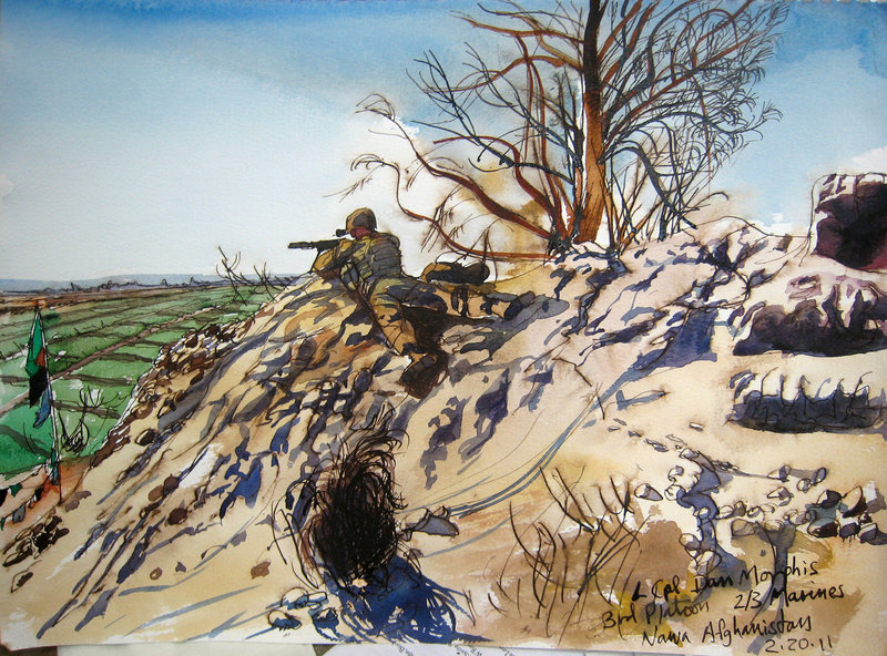 In drawing scenes from war zones in Afghanistan and Iraq, Steve Mumford was less interested in the front-line action and more concerned about recording the lives of residents and soldiers in the lull between the fighting.