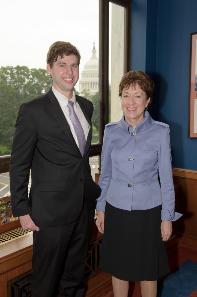 Sen. Susan Collins, right, with new summer intern Eric Andreasen of Portland.