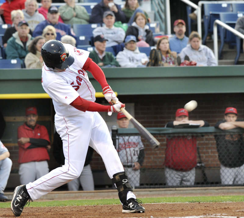 Alex Hassan connects for one of three home runs hit by the Sea Dogs, who have won six straight games in June to improve to 20-36.