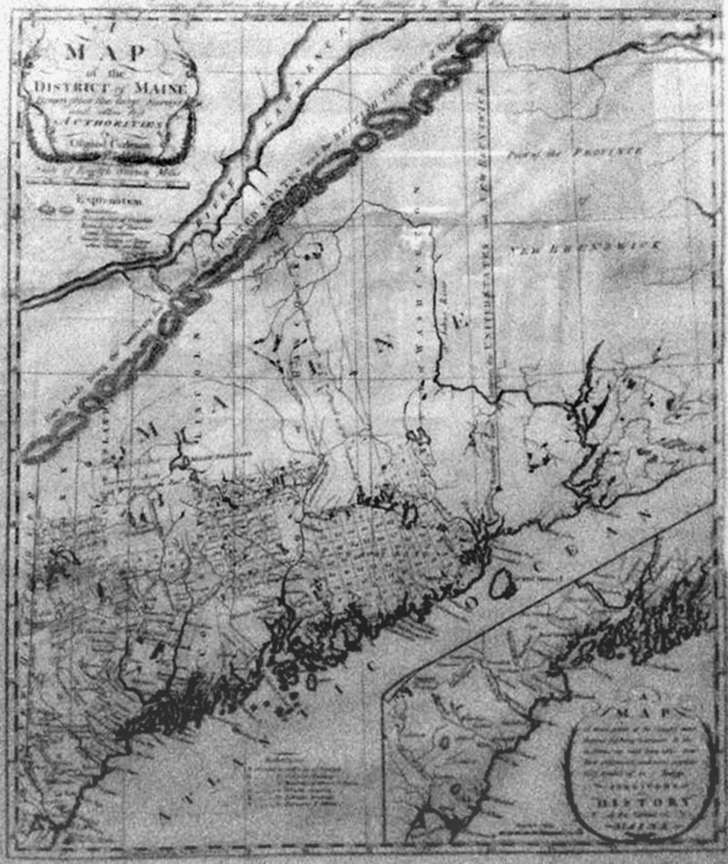 """From Martha Stewart's collection, a map of the """"District of Maine"""" (from James Sullivan's book), by Osgood Carlton, 1795."""