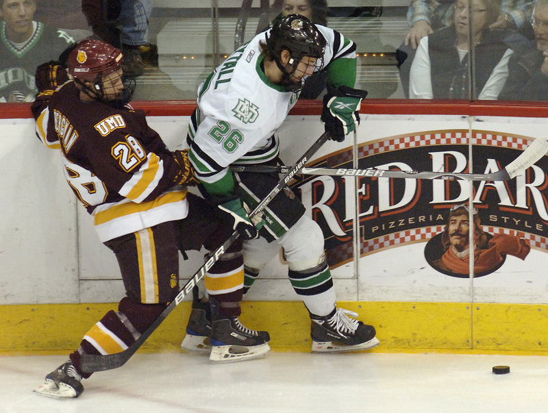 Brett Hextall, right, son of former NHL goalie Ron Hextall, signed with the Phoenix Coyotes last spring and could be on the Pirates' roster next season.