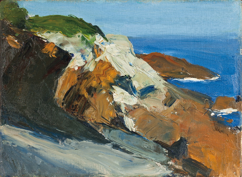 """Sea and Rocky Shore,"" oil on canvas panel, 1916-19, is among 30 Hopper studies of Monhegan Island on view in ""Edward Hopper's Maine"" at Bowdoin College."