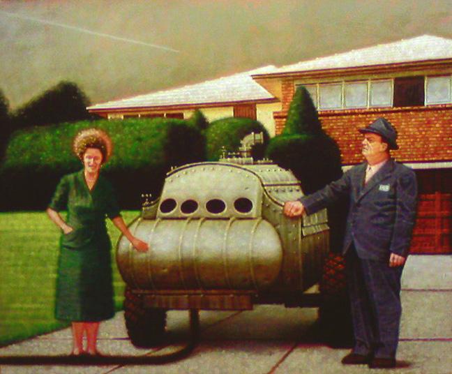 Peter Drake, Siege Machine, acrylic on canvas