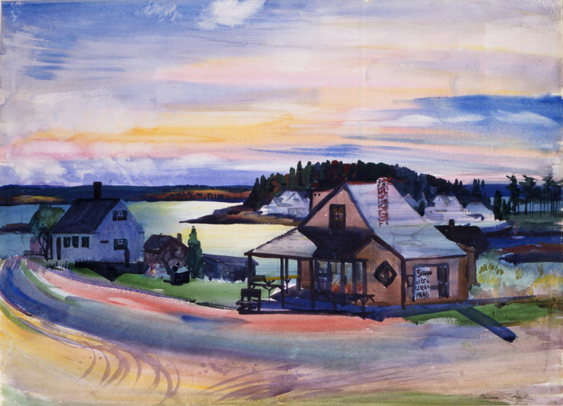 """""""Five Islands Ice Cream Parlor"""" by William Zorach, watercolor on paper, 1940, at the Portland Museum of Art."""