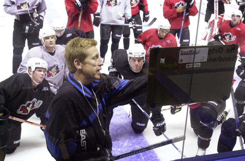 Washington Capitals, 1993-2005: Glen Hanlon, then coach of the Pirates, leads a practice at the Cumberland County Civic Center in 2004.