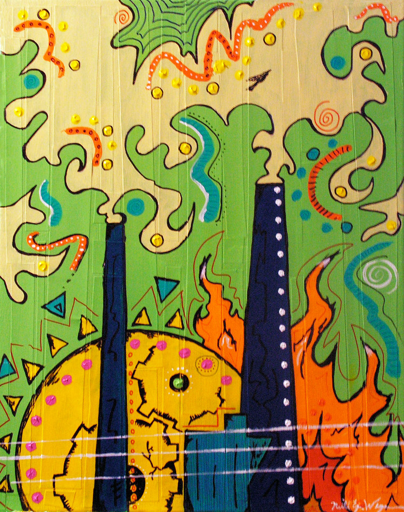 """""""The Grind"""" by Neill Ewing-Wegmann, acrylic and marker on canvas and paper, at Art House."""