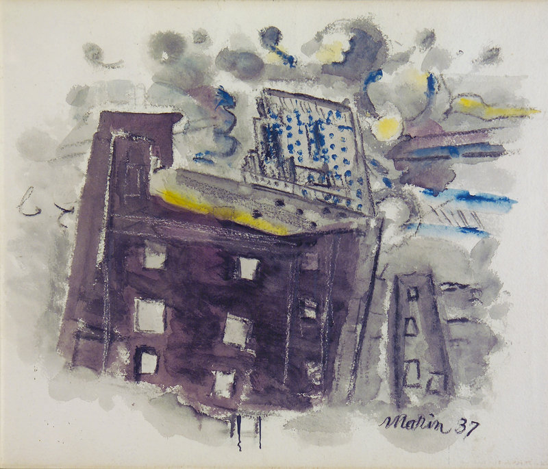 """""""Top of Radio City, New York City,"""" 1937, watercolor on paper, from """"John Marin: Modernism at Mid-Century,"""" continuing at the Portland Museum of Art."""
