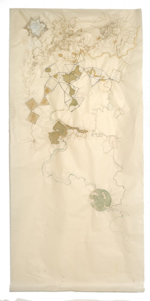 """""""Wall Puzzle #3,"""" graphite and ink wash on Japanese paper, by Alison Hildreth."""