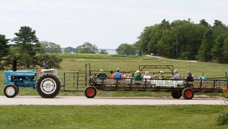 Eric Tadlock, director of education, gives wagon rides for visitors at Open Farm Day at Wolfe's Neck Farm in Freeport on Sunday. The Casco Bay coastline is among the sights to take in at the farm.