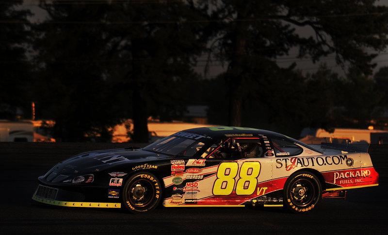 American Canadian Tour driver Nick Sweet of Barre, Vt., couldn't quite outmaneuver Kyle Busch late in the TD Bank 250 race Sunday night at Oxford Plains Speedway, and wound up placing second. Austin Theriault, a 17-year-old from Fort Kent, placed third.