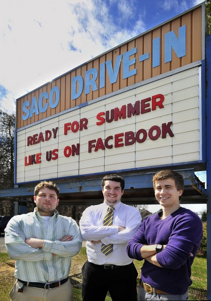University of Southern Maine students Ry Russell, left, Tyler Wells and Patric Brophy run the Saco Drive-In, awinner with readers.