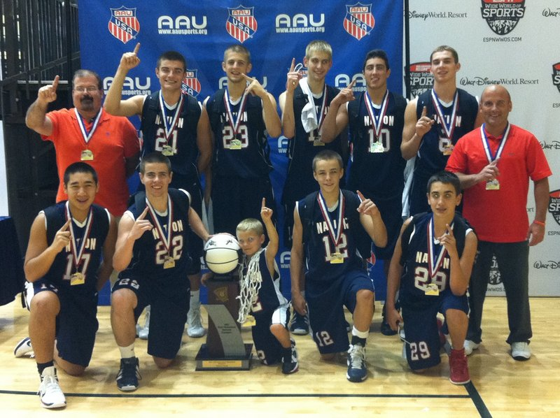 Members of MBNation, which won an AAU basketball national title: front row, left to right – Cam Chea, Harry Rafferty, Reese Woodbury, Dustin Cole, Spencer Ruda; back row, left to right – Coach Kevin Griffeth, Vukasin Vignjevic, Chris Braley, Alex Furness, Will Defanti, James Kapothanasis, Coach Mike Woodbury.