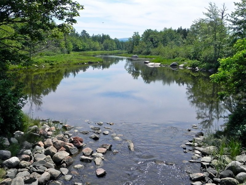 The view looking south from the Route 3 bridge at the put-in site.
